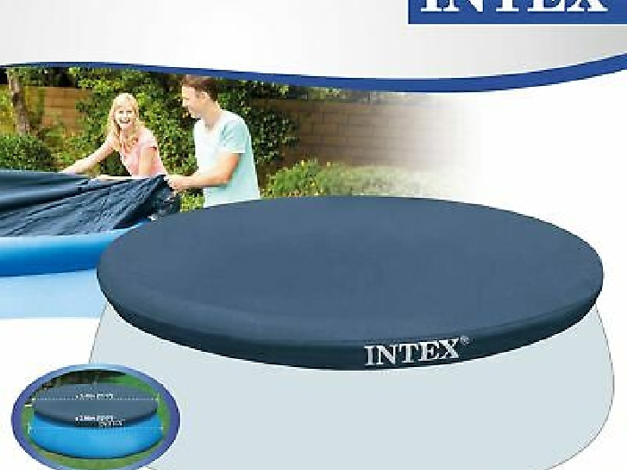 Bache Protection Piscine Ronde Hors Sol Gonflable Diametre 3,66 m Bleu Intex Eau