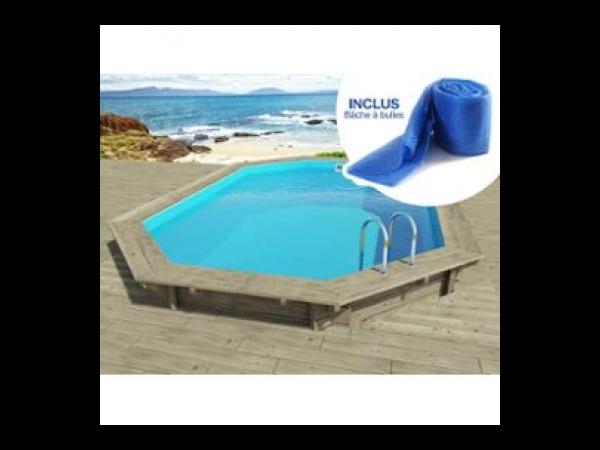 piscine bois florida - 6.57 x 4.57 x 1.31 m + pompe a chaleur 3.5 kw