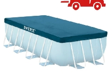 Bache de Protection Eau Bleue Piscine Rectangulaire Intex Tubulaire 400 x 200 cm