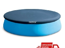 Bache Protection Piscine Ronde Hors Sol Gonflable Diametre 3,6 m Bleu Intex Eau