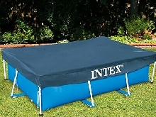Bache Protection Piscine Rectangulaire Hors Sol Bleu 450 x 220 x 20 cm Intex Eau
